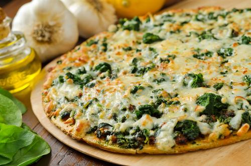 Receta de pizza de espinacas