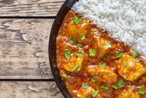 Receta de pollo al curry con arroz