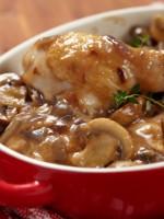 Receta de pollo al horno con salsa de champiñones