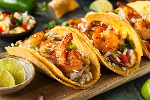 Receta de tacos con camarón