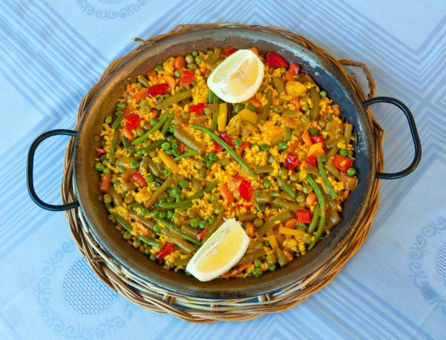Receta de paella de verduras