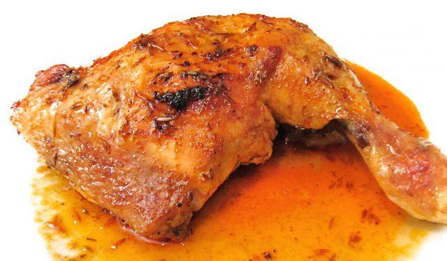 Receta de muslos de pollo al horno con naranja - Unareceta.com