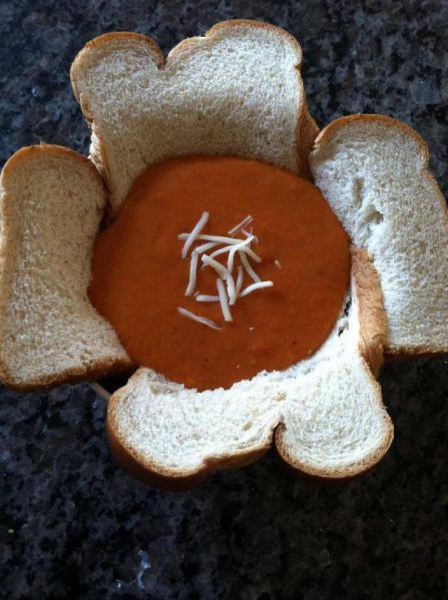 Receta de salmorejo con fortaleza de pan bimbo
