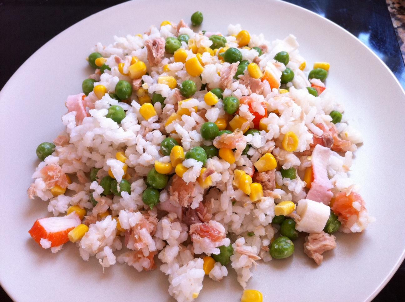 Receta de ensalada de arroz con gambas - Ensalada de arroz con atun ...