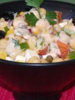 Receta de ensalada de garbanzos con salsa rosa