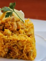 Receta de arroz con pollo y calamares