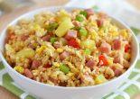 Receta de arroz tres delicias con jamón