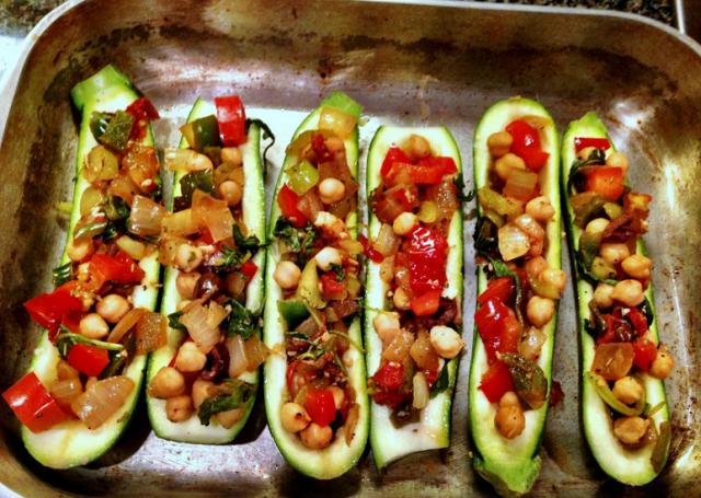 Receta de calabacines rellenos con verduras