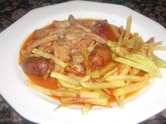 Receta de callos a la madrileña con patatas fritas