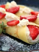 Receta de crepes de fresas y helado