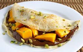 Receta de crepes de mango y nutella