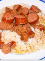 Receta de arroz blanco con salchichas