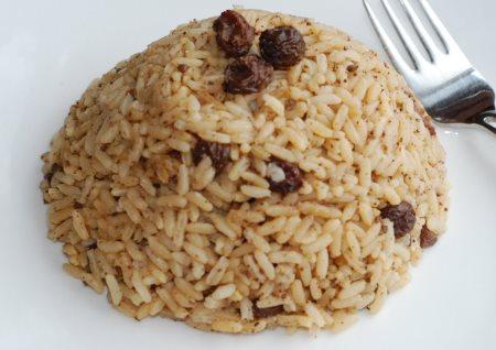 arroz pasas