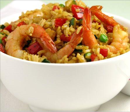 Receta de gambas al ajillo con arroz