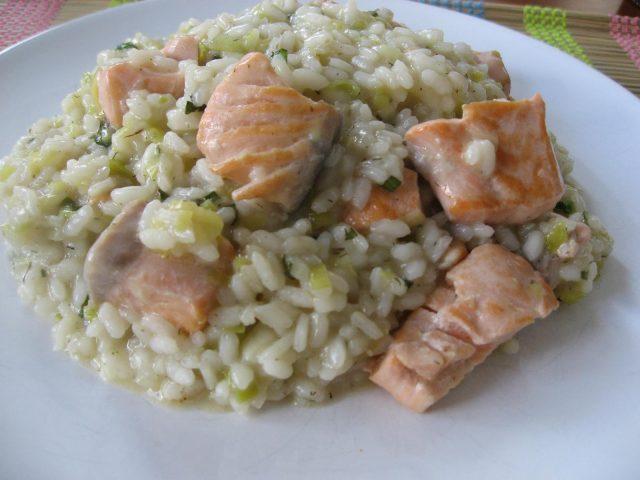 Receta de risotto de salmón