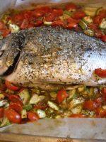 Receta de dorada al horno con verduras