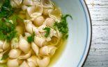 Receta de sopa de pollo y conchas