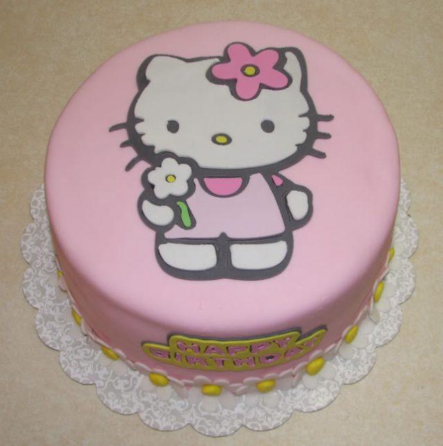 Receta de tarta fondant de hello kitty