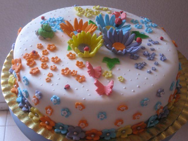 Receta de tarta fondant con flores