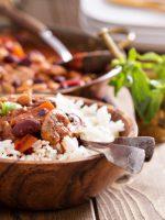 Receta de frijoles con arroz y carne