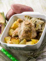 Receta de pollo al horno con alcachofas