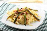espaguetis con verduras y nata