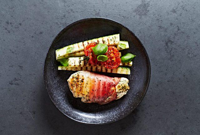 Receta de calabacines a la plancha con jamón