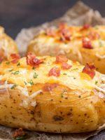 Receta de patatas al horno rellenas de jamón