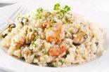 risotto de mariscos y parmesano