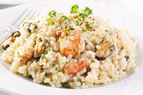 Receta de risotto de mariscos y parmesano