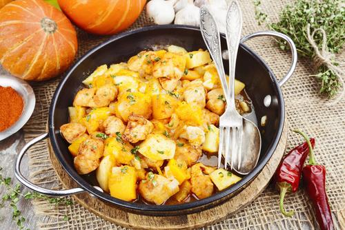 receta de calabaza frita con patatas