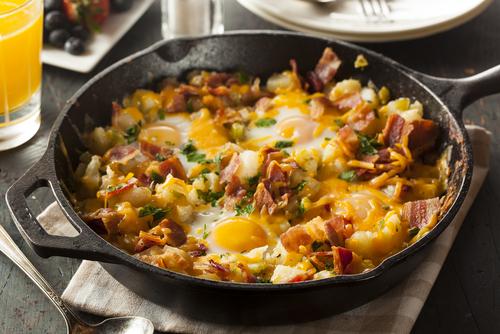 Receta de setas con jamón y huevo