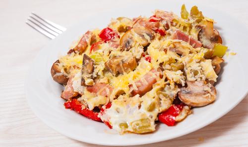 Receta de champiñones con jamón y huevo