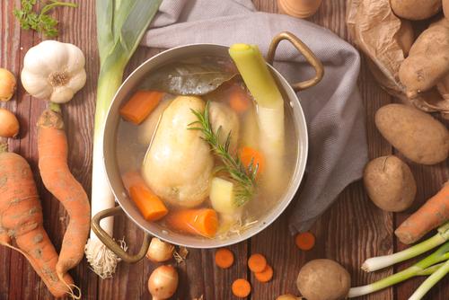 Receta de caldo de pollo con verduras