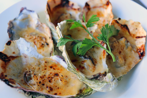 Receta de ostras gratinadas al champagne
