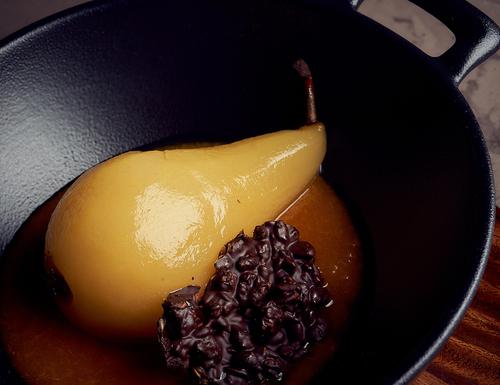 Receta de peras al vino tinto con miel