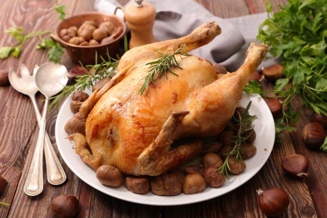 Receta de pollo asado con castañas