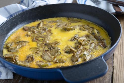 Receta de tortilla de alcachofas de bote