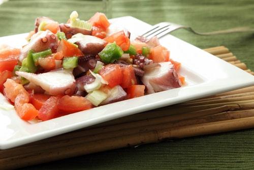 Receta de ensalada de pulpo con pimientos